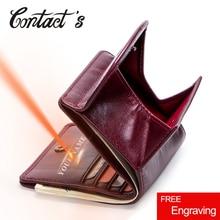 Купить с кэшбэком Contact's Genuine Leather Women Wallets Coin Purse Short Female Money Bag High Quality Mini Walet Small Card Holder For Girl