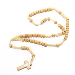 Cross Vintage Style Men's Wear Women's Catholic Christ Wood Rosary Beads Cross Pendant Necklace 4 colors Optional