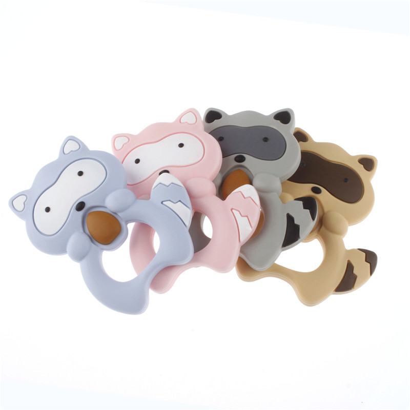 Raccoon Baby Silicone Teethers Cartoon Animal Teething Toys Baby DIY Teething Accessories Food Grade Silicone Baby Teeth Care
