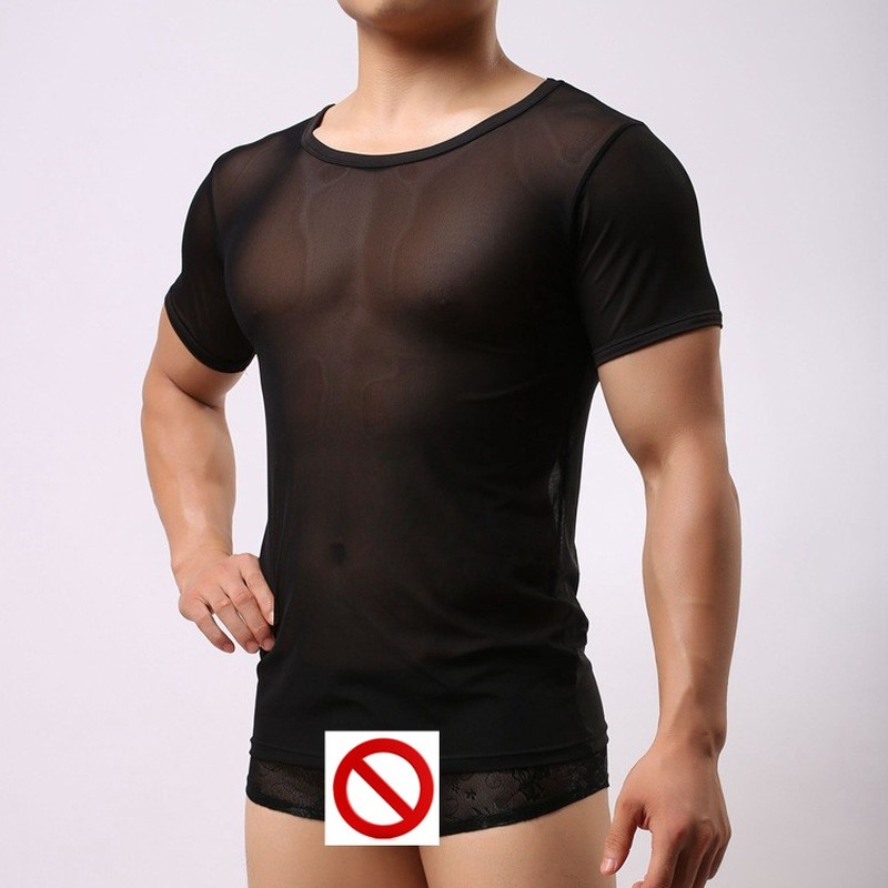 Men Sexy Singlet Mesh Sheer See Through Shirt Tops Underwear Exotic Sleepwear Net Tshirt Undershirts