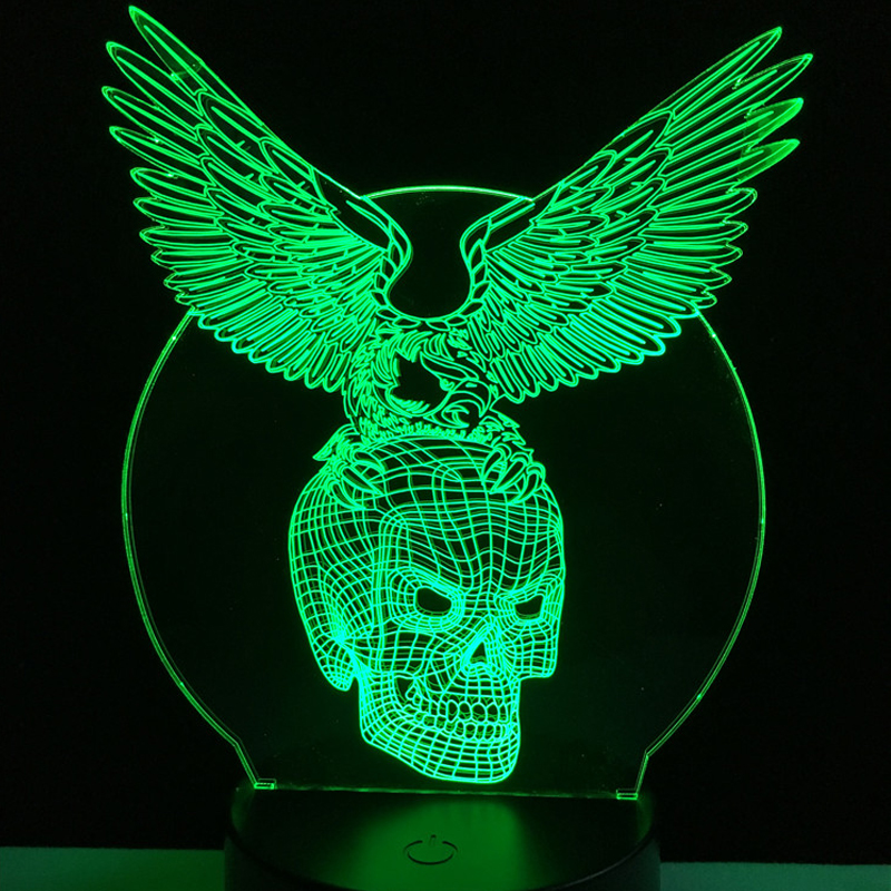 Wholesale Evil Wings Skull Head 3D USB LED Lamp Halloween Decorative Mood 7 Colors Changing Party Cool RGB Night Light Man Toys 3d tiger shape led color changing decorative night light
