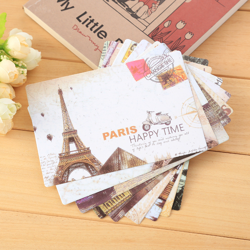 9pcs Creative Retro Eiffel Tower Postcard Fashion Simple Chinese Style Pattern Business Cards Cute Cartoon Snowman Cards image