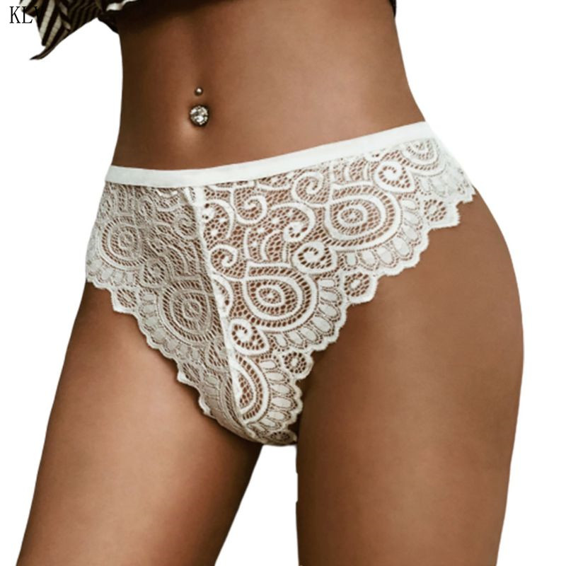 Womens Sexy Sheer Lace Underwear Briefs Mid Rise Paisley Floral Solid Jacquard   Panties   Seamless Scalloped Trim High Cut Thong