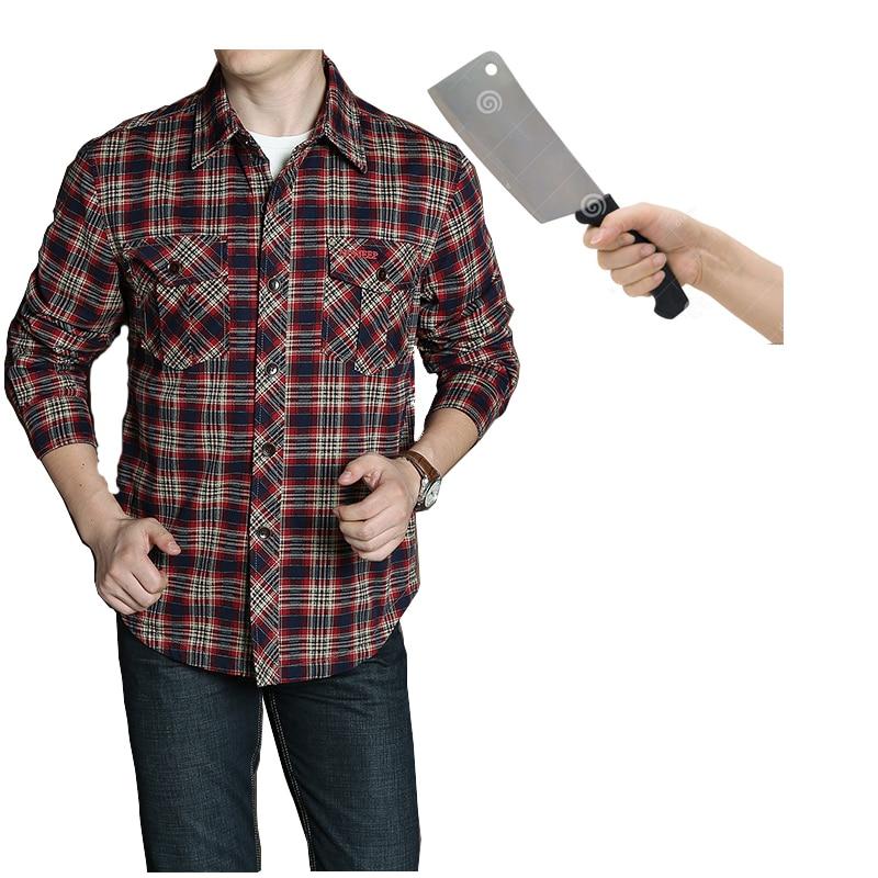 Мужская рубашка тактическая защита от ударов Повседневная клетчатая рубашка невидимая анти удар Блузка Топы безопасная одежда
