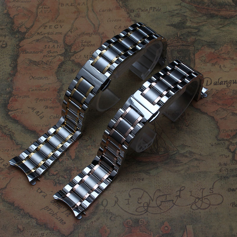 Stainless steel Watchbands Straps Bracelets curved end Silver gold rose gold new 14mm 15mm 16mm 17mm 18mm 19mm 20mm 21mm 22mm 14mm 16mm 17mm 18mm 19mm 20mm 21mm 22mm 23mm 24mm silver black full stainless steel watch strap wacthband for rarone with logo page 1
