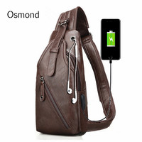 717c0110f269c ... Çantası Su Geçirmez. Teklifi Göster. Osmond Anti Theft USB Charging  Port Chest Bag Male Sling Bag Travel Crossbody Shoulder Bags For