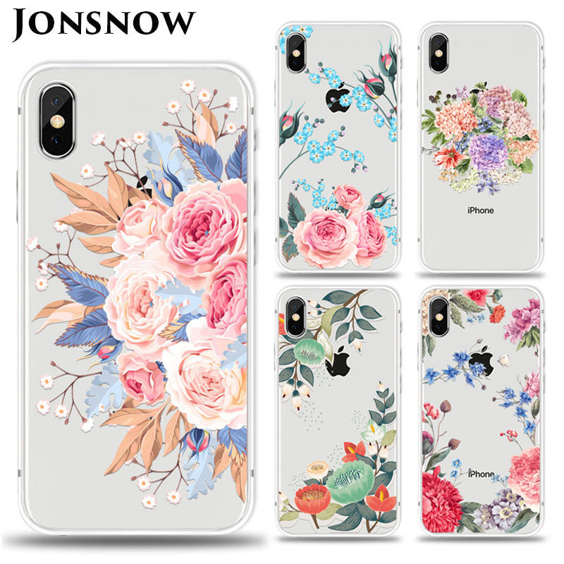 KIPX1027_1_JONSNOW For iPhone 7 Flowers Pattern Soft Case For iPhone 6 6S 7 8 Plus Clear Back Cover for iPhone 5 5S SE Capa Coque Fundas