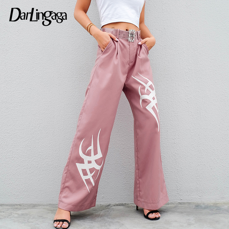 Darlingaga Fashion baggy pink   wide     leg     pants   trousers women harajuku print 2019 summer high waist   pants   track bottom clothes new
