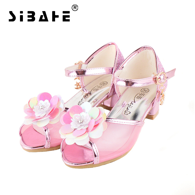 Sibahe Children Shoes Girls High Heels Flower Glitter Rhinestone Leather Party Shoe Kids Party Dress Shoes Silver Blue Pink