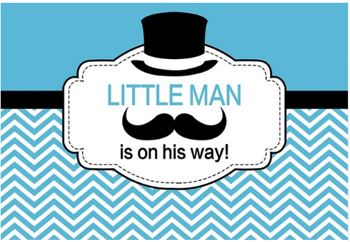 7x5FT Little Man on the Way Moustache Party Reveal Baby ...
