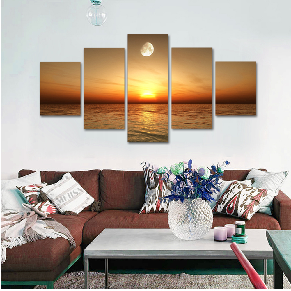 Unframed 5 panel HD Canvas Wall Art Giclee Painting Sunset And The Moon Landscape For Living Room Home Decor Unframed