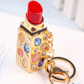 Sexy opal lipstick keychain/new 2015 luxury jewelry women bag accessories/chaveiro feminino llaveros women/porte clef strass