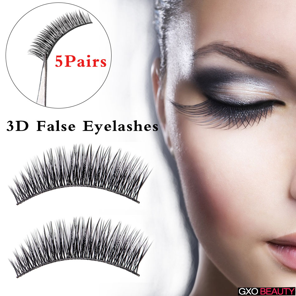 GXO BEAUTY 5 Pairs Ladys Beauty Kit Handmade Natural Cross Thin Eye Lashes Extension Long Black False Eyelashes-N501