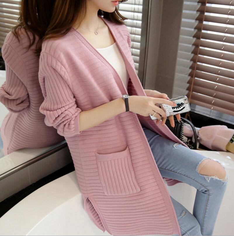 2018 Korean Fashion Solid Women kintted Sweaters Women Sweater Long Cardigan Slim Pocket Loose Knit Sweater Outwear Coat gray