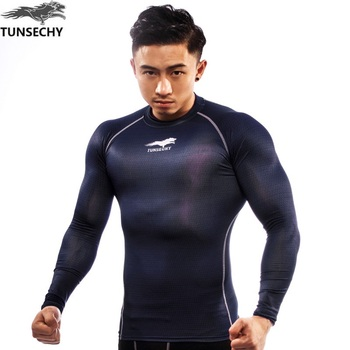 TUNSECHY brand men's wear compression tight t-shirts bicycle T-shirt with long sleeves moisture absorbent quick dry T-shirt