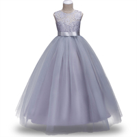 4 14Yrs Elegant Long Wedding Dress For Girls Lace Solid Wedding Party Princess Children Dresses Kids