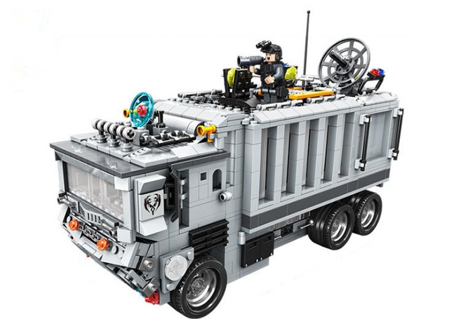 new kaizi model building kits compatible with lego command center police truck 3d blocks educational toys - Camion Lego