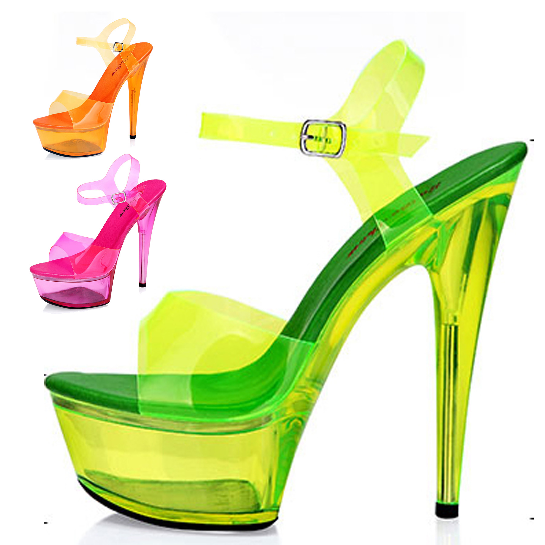 Free Shipping 2015 Sexy Wild Women s Fashion Neon Platform ultra High Heels open toe Sandals