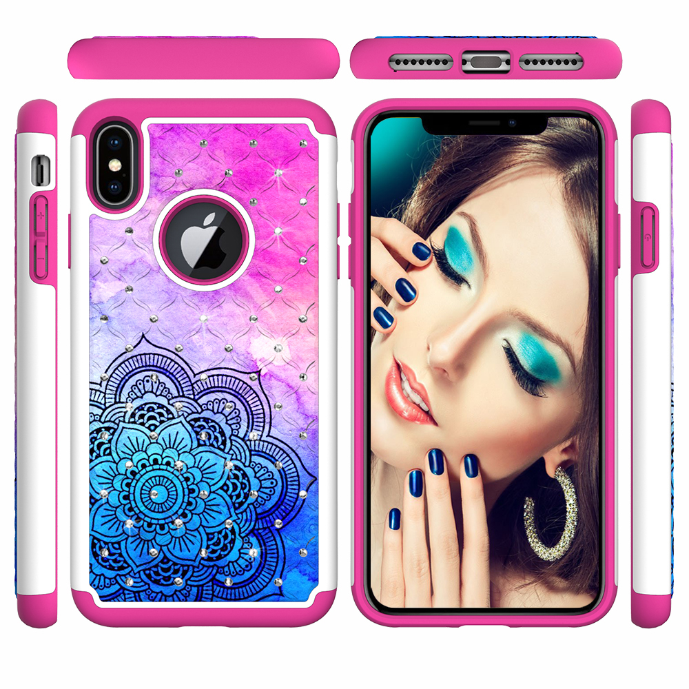 painted skin PC silicon 2 in 1 case For iphone 6 7plus 8 Case colorful Jewelled Anti-knock back cover For iphone X XSmax XR capa