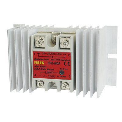 Temprature Control Solid State Relay HPR-40DA AC 24-380V 4-32V DC w Heat Sink normally open single phase solid state relay ssr mgr 1 d48120 120a control dc ac 24 480v