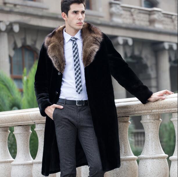 블랙 따뜻한 캐주얼 짧은 가짜 밍크 토끼 모피 코트 망 가죽 남성 겨울 코트 겉옷