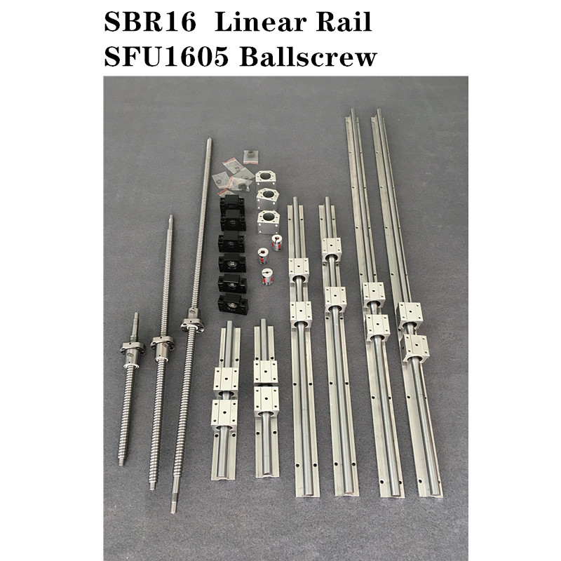 6 set SBR16 -400/450/500mm Linear Guide Rail + 3 set <font><b>SFU1605</b></font> - 450/<font><b>500</b></font>/550mm Ballscrew set + 3 set BK/BF12 CNC Part image