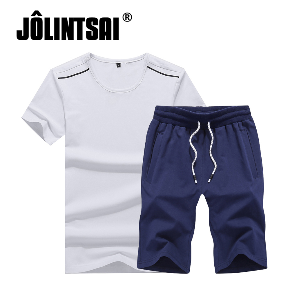 JOLINTSAI Plus Size 4XL Summer Sets New Casual Male Clothing Tracksuit Men O-neck T Shirts+Shorts 2 Pieces Sets Mens Sportswear