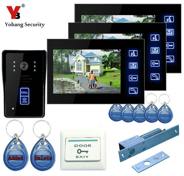 YobangSecurity 7Inch Wired Digital Door Phone Video Intercom Entry System Kit Home Security With RFID Keyfobs,Electronic Lock digital electric best rfid hotel electronic door lock for flat apartment