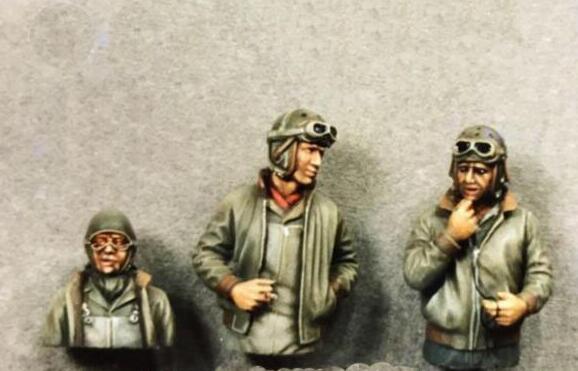 1/35 Resin Figures WWII US Tank Crew 3pcs/set Model Kits