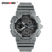 GOODWEEK Cowboy Man Sport Watch Waterproof Led Digtial Quartz Watch Chronograph Dual Display Wrist Watches Rubber Reloj Hombre
