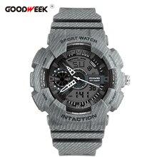 Reloj deportivo GOODWEEK Cowboy Man impermeable Led Digtial Reloj de cuarzo cronógrafo de doble pantalla relojes de pulsera Reloj de goma para Hombre