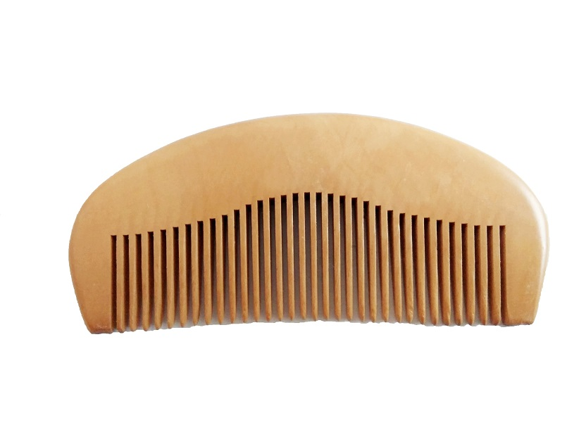 Natural Peach Wood Wavy Shape Comb Pocket Beard Comb Wholesale Hair/Beard Care Comb Make Up Tool For Men