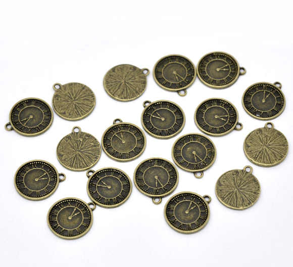 "DoreenBeads Zinc metal alloy Charm Pendants Clock Antique Bronze 19mm( 6/8"") x 17mm( 5/8""), 5 PCs new"