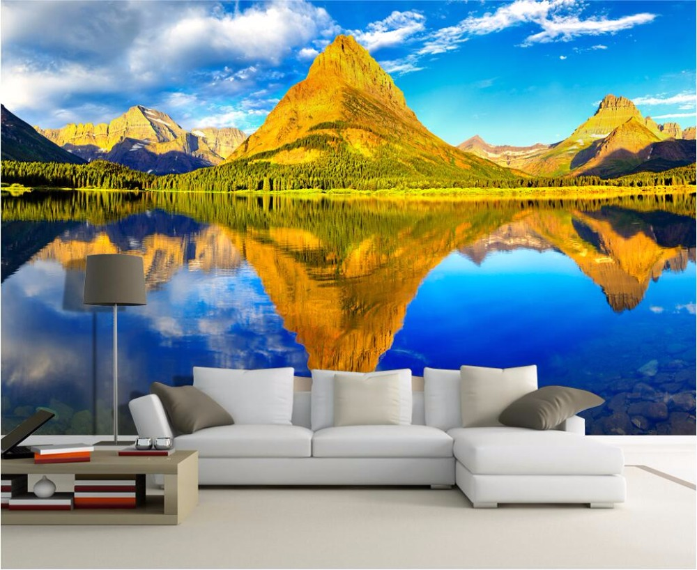 Custom mural photo 3d room wallpaper Golden mountain lakes home ...