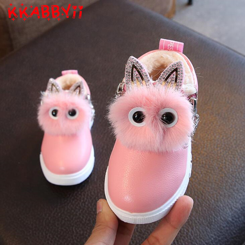 New Winter Rubber Girls Boots Fashion Warm Children Shoes Girls Leather Plush Flat Sneakers 2 Colors Kids Boots