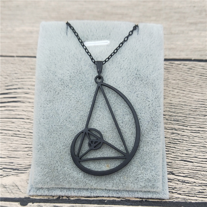 New Spiral with Triangle Necklace <font><b>Fibonacci</b></font> <font><b>Pendant</b></font> Ratio Psychology Necklace Science Biology Jewelry For Women image