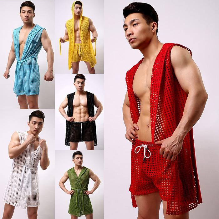 1pcs men pajamas long mens robe men robe bathrobe sexy mesh sheer gay wear see through kimono men sleepwear bath wear