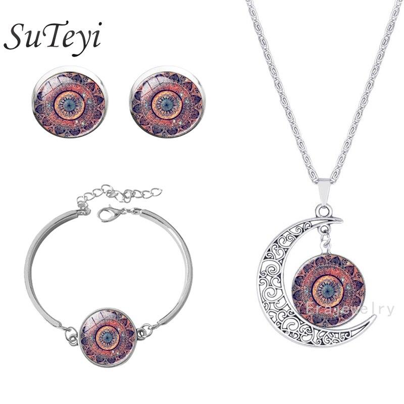 SUTEYI Mandala Flower OM Symbol Buddhism Zen Picture Glass Cabochon Stud Earrings bracelet Necklace Jewelry Set for Women
