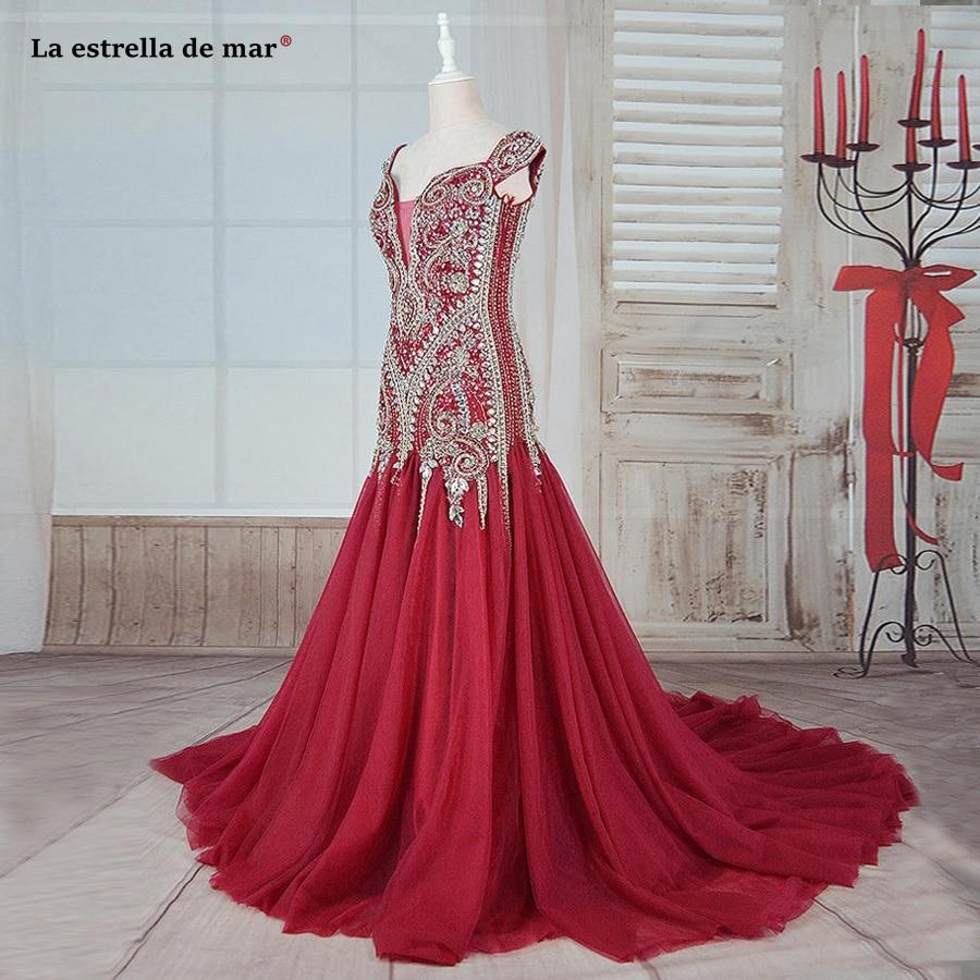 Abendkleider 2019 new V neck halter cap sleeve burgundy mermaid evening dresses real photo luxury Dubai vestidos de festa longo