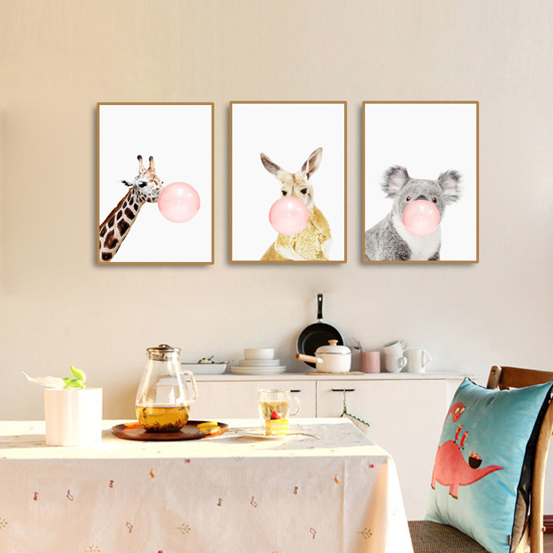 Modern Pink Balloon Animal Cartoon Canvas Poster Cute Kids