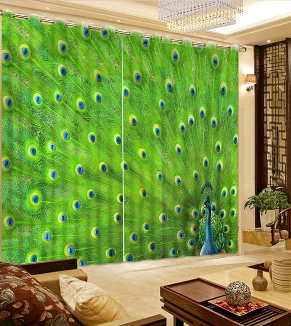 Home Decoration Curtains For Living Peacock Art Curtain Green Kitchen  Shower Curtains Modern Hooks Fabric Curtain