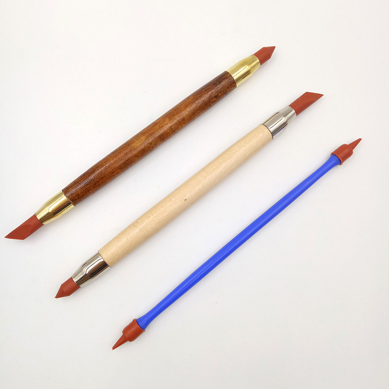 3Pcs Silicon Rubber Shaper Pen Double-head Pottery Clay Sculpture Tools Pottery Ceramics Carving Modeling Shaping Tool