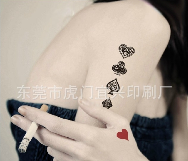 e52b7b56a Small Temporary Tattoo Sticker Poker Spades Hearts Fake body art for men  and women Waterproof-in Temporary Tattoos from Beauty & Health on  Aliexpress.com ...