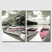 Canvas Print Art Travel Place Pictures Of Beach And Boat 2pcs Set Wall Pictures For Living