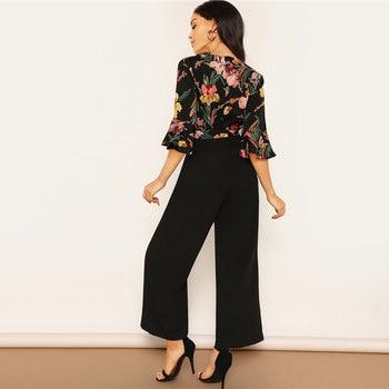 Enterizo largo negro elegante flores escote V 1