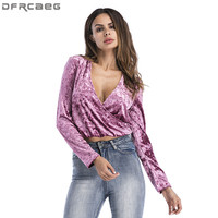 Velvet T Shirt Women 2017 Autumn Winter Sexy Deep V Neck Long Sleeve Crop Top Casual