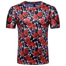DropshippingMen's 3D Short Sleeve T-Shirt Rose Print Valentine's Day Red Rose T-Shirt Flower Short Sleeve