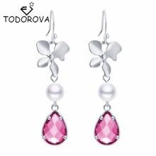 Todorova Women Jewelry Bridesmaid Gift Orchid Flower Everyday Pink Waterdrop Pendant Drop Earring Statement Wedding Pendientes