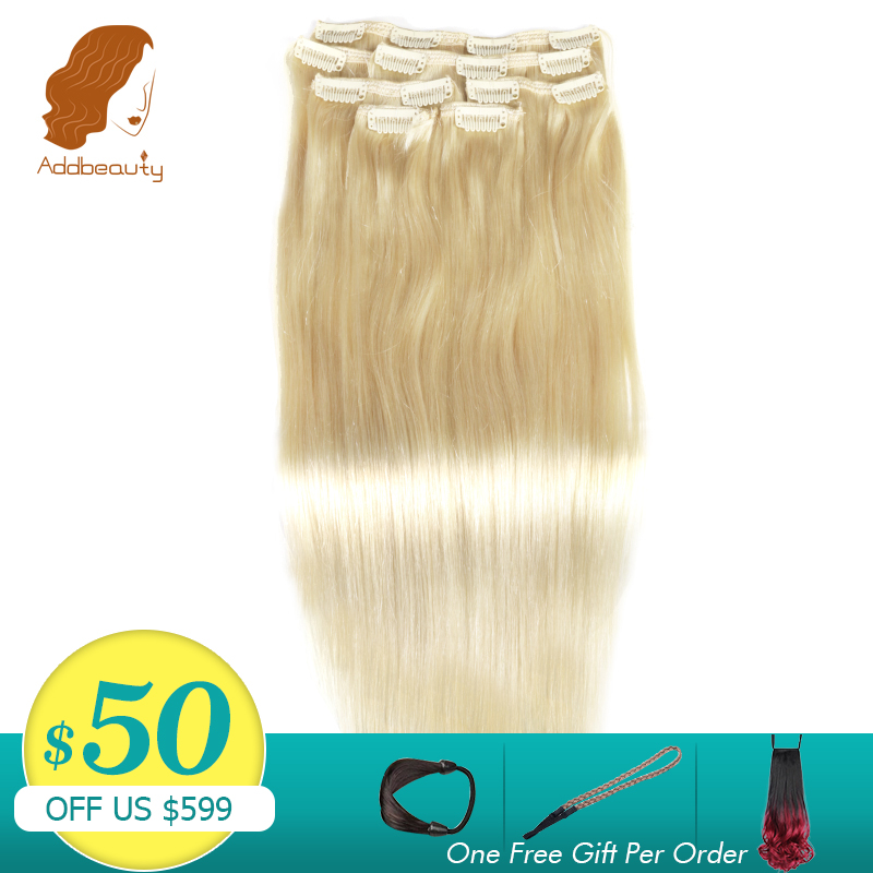 Addbeauty Remy-Hair Human-Hair-Extensions Clip-In Natural-Color Straight 27 -613 Full-Head-Machine