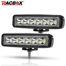 RACBOX – feu antibrouillard DRL lampe de travail LED pour Jeep LADA Toyota Dodge, 6 pouces, 18W, pour camion tout terrain, Bus, bateau, voiture